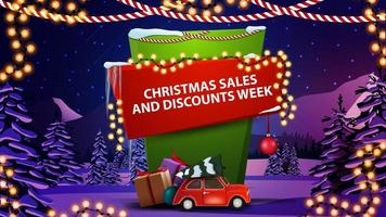Christmas sales and discounts week banner vector