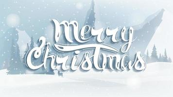 Merry Christmas, greeting postcard with winter landscape vector