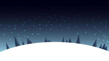 Cartoon night winter landscape with starry sky