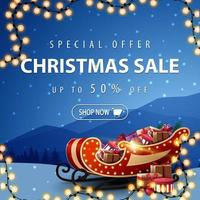 Discount banner with garland and Santa Sleigh vector