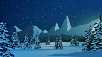 Winter landscape with snow covered pines vector