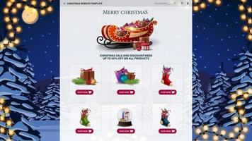 Christmas website template with night landscape vector