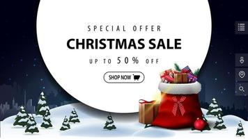 Discount banner for website with large circle vector