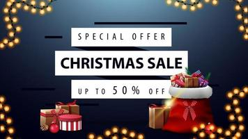 Blue discount banner with Santa Claus bag