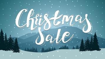 Discount banner with large lettering and winter landscape vector