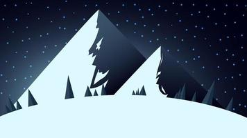 Winter landscape with two big snowy mountains vector
