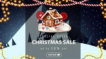 Discount banner with Christmas gingerbread house vector