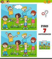 Juego de diferencias con grupo de niños y adolescentes.