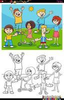 niños y adolescentes grupo de personajes página de libro de color vector