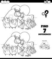 diferencias para colorear juego con animales enamorados vector