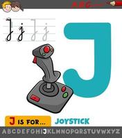 Letter J worksheet with cartoon joystick vector