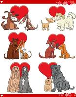 Valentine cartoon love set with dogs
