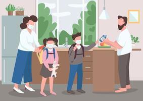 familia durante la cuarentena vector