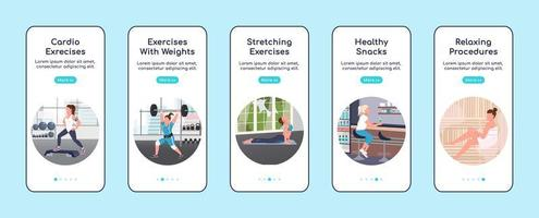 Gym workout onboarding mobile app screens vector
