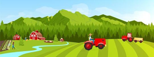 Tractor on the Farmland vector