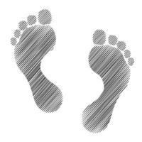 Two man's footprints in sketch style vector