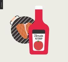 barbacoa de carne a la parrilla y salsa de tomate