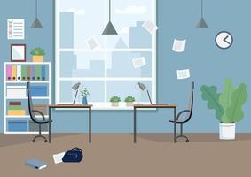 espacio de trabajo de oficina vacía vector