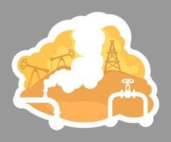 Oil drilling badge vector
