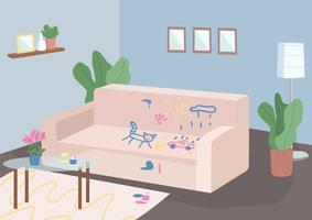 sala de estar desordenada