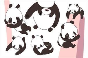 Cartoon panda bear set vector