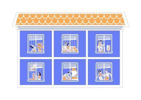 Apartment windows activities vector