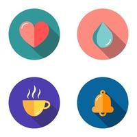 Set of 4 flat icons - heart, drop, cup, bell