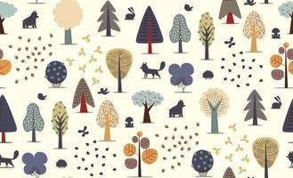 bosque, árboles, seamless, patrón