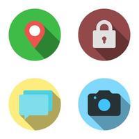 conjunto de 4 iconos planos: ubicación, candado, información sobre herramientas, foto