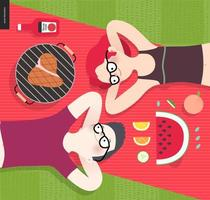 Young couple on picnic, vegetarian vs meat eater vector