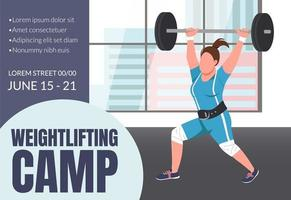 Weightlifting camp banner vector