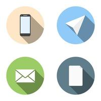 Set of 4 flat icons - phone, plane, mail, list vector