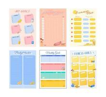 mis metas planificador creativo diseño de conjunto de páginas vector