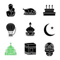 conjunto de iconos de glifo de vacaciones