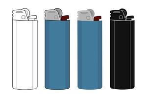 Conjunto de iconos de encendedores de gas de bolsillo desechables vector