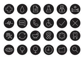 conjunto de iconos lineales médicos en blanco y negro