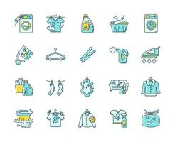 Laundry types and equipment icons set.