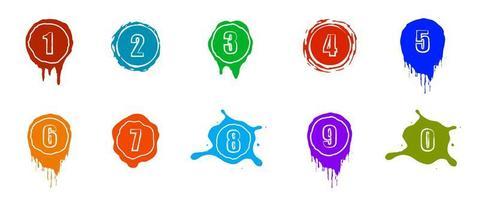 salpicaduras de pintura con números. color. vector