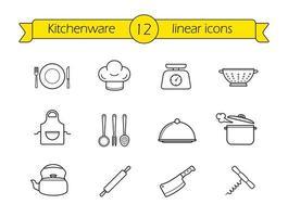 Kitchenware line icons set vector