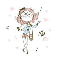 chica adolescente de moda escuchando música con auriculares. vector