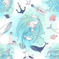 tema del mar con una niña, ballenas y gaviotas.