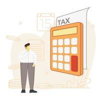 Hombre de negocios calculando el impuesto sobre la renta vector