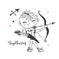Children's zodiac. Sagittarius sign. Boy with a bow.
