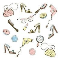 Set of women's accessories, cosmetics.