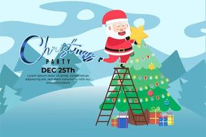 Christmas Party background with cute santa on big star vector