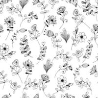Doodle flower pattern black and white. vector