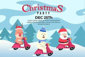 Christmas Party Background with santa and friends vector