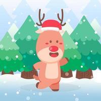 lindo reno navidad personaje bailando vector