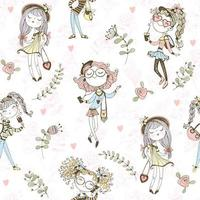 Seamless pattern with cute trendy teen girls .