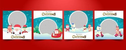 Set Social media Christmas sale posts vector